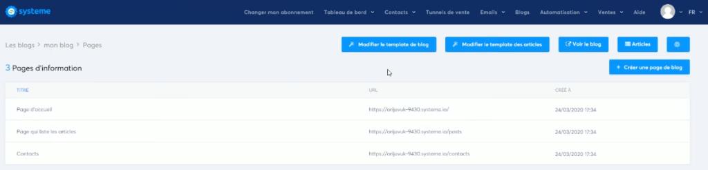 créer un blog avec systeme io - les pages